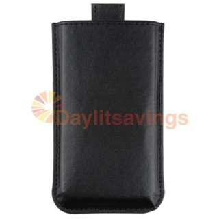 Black Leather Case+Privacy Pro+AC Charger For iPhone 4 4th Gen 16G 32G