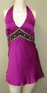 NWT SIGNATURE ROBBIE BEE Purple Silk Halter Top 12