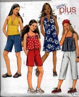 Sewing Pattern Girls Halter Dress Top Shorts Pants 7 14