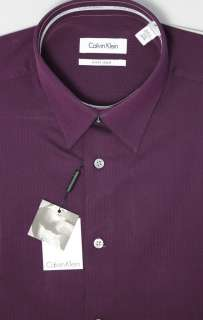 Calvin Klein Wine Slim Fit Dress Shirt 100% Cotton No Pocket