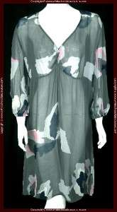 NEW $160 DIDI Printed Sheer Gray Dress Extra Large XL