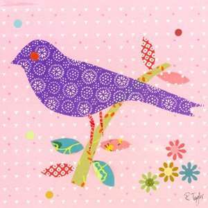 mod bird on light pink wall art: Home & Kitchen