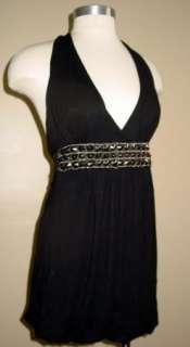 Womens JULIES CLOSET Black HALTER DRESS balloon hem S