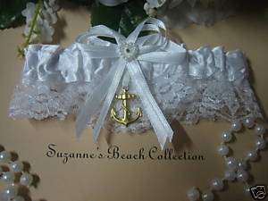 Beach Theme Wedding GARTER SATIN TOSS BOAT ANCHOR WHITE
