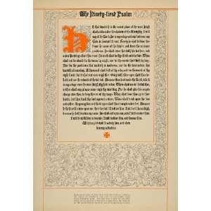 1919 Print Old English Style Font Type 91st Psalm Nash   Original
