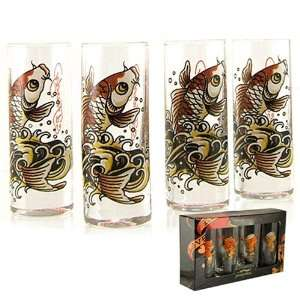 Licensed Don Ed Hardy Gold Koi Fish Shot Glass