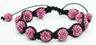 Shamballa Bracelet With Hot pink Crystal Beads NEW