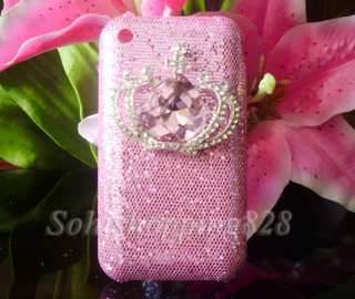 Pink 3D Diamond Crown Hello Kitty Bling Hard Case Cover For Apple