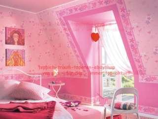 Kinder Tapeten Pink Rosa Herzen+ Blüten Teens Love GIRL