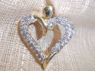 10k yellow gold 1ct diamond open heart pendant