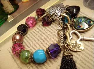 Lady Girl Fashion BOHO Style Vintage Heart Peacock Leaf Key Bracelet