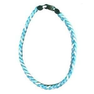 Ionic Braided Necklace   Carolina Blue/White