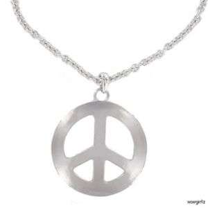 NECKLACE   PEACE SIGN   EXTRA LARGE   SILVER COLORED