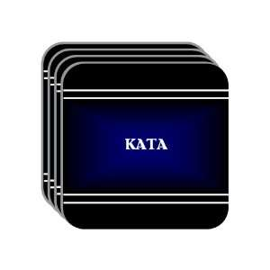Personal Name Gift   KATA Set of 4 Mini Mousepad Coasters (black