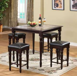5pc Wood Counter Height Dining Room Set Table & 4 Stools ~New~