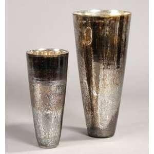 PC9791   Hand Blown Antique Silver Glass Vase