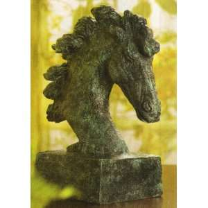 Verdigris Horse Head Figure