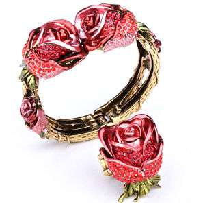 Gold red swarovski crystal flower bracelet ring set 39