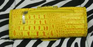 Yellow Python Snake Reptile Croco Fold over Clutch Bag Purse Wallet