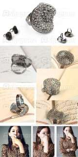 Korean Fashion Retro Vintage Mushroom Full Rhinestone Adjustable Ring