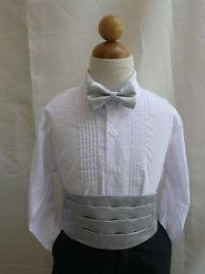 NEW SILVER CUMMERBUND BOW TIE SET FOR BOY TUXEDO SUIT