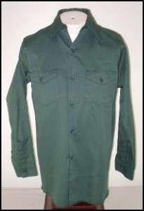 Vintage Mens Hit em Hard Uniform Work Shirt Green S