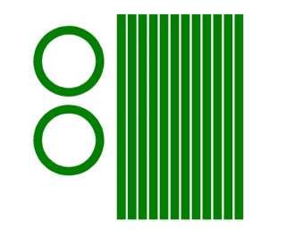 Circles & stripes Cornhole Game Decals DARK GREEN