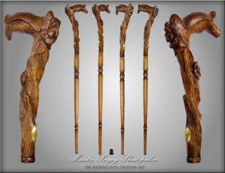 WOLF HEAD HANDLE CARVED REAL OAK WOOD WALKING STICK CANE 35 38