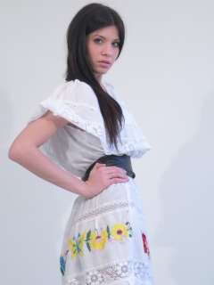 Vtg 70s embroidered mexican lace dress white off the shoulder hippie