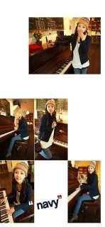 Fashion Korean Slim Lapel Buttons Long Sleeves Deep Blue Color Blazers
