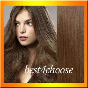 20 70g Clip In Human Hair Extensions Light Brown #8