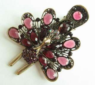 SWAROVSKI CRYSTAL BIG BRONZE PEACOCK HAIR BARRETTE CLIP 2408