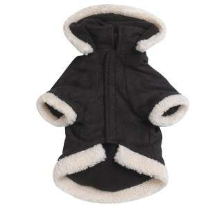 East Side Hooded Sherpa Dog Jacket Coat Black