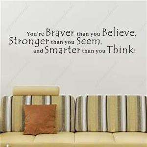 You are braver than you think words and letters quote decals