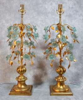 REGENCY GILT FLORENTINE ITALIAN MURANO BLUE FLOWER GLASS LAMPS