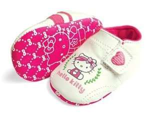 New HELLO KITTY Soft Sole Baby Girls Sneakers Ivory Crib Shoe. Age 0