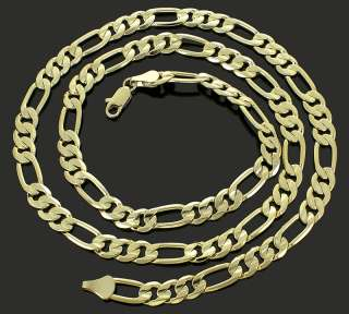 Mens 24 30 Inch 14k Gold Plated Pressed Diamond Cut Figaro Chain 8 mm