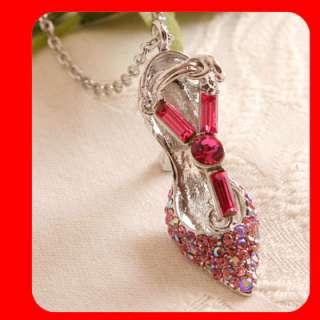 Big HIGH HEEL SHOE Pink Swarovski Crystal Necklace