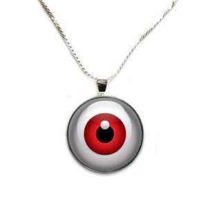 Red Eye   Clear Gem Pendant + Necklace Option