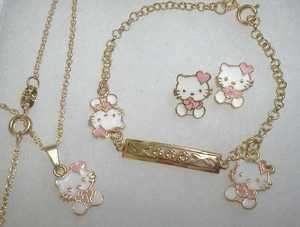 18Kt Gold gf GIRLS PINK HEART HELLO KITTY Earrings Necklace 4pc SET
