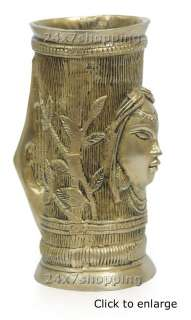 Beautiful Big Brass Lady Face Carved Flower Pot Vase