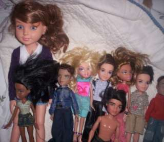 SMALL BRATZ DOLLS AND 1 LARGE MGA ENTER. DOLL 5 BRATZ BOYS 3 BRATZ