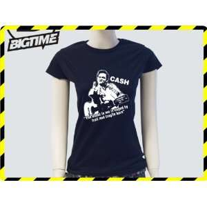 Damen T Shirt Johnny Cash Kult Musik Film Shirt schwarz E22 Girly