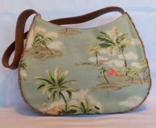 FOSSIL Tropical Canvas & Brown Leather Handbag