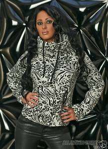 Sexy Kuschelige Damen Sweatjacke Leopard grau weiß Gr M/L 38/40 Jacke