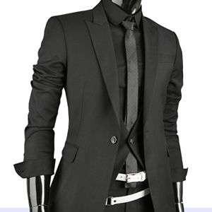 Mens Premium Slim Fit Dress Suit BLACK (SZ 34/38R) 05