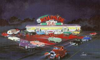 ROADSIDE DINER on Route 66 Card Print w/PEPSI COLA Ad.Sign,Truck,Cars+
