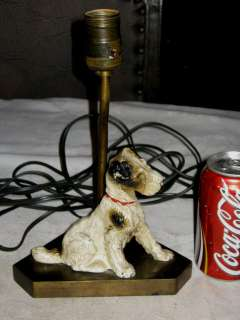ANTIQUE HUBLEY FOX TERRIER PUPPY DOG STATUE ART DESK TABLE LAMP CAST