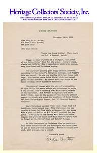 Eddie Cantor, comedian, dancer, singer, actor, signed letter