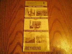 Vintage Greyhound Bus Schedule October 30, 1966